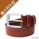 TALERF馬卡龍個性單層皮帶(桃紅/共6色)-情侶-女 /真皮 牛皮/台灣製造