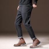 牛仔褲男士牛仔褲黑色修身直筒休閒青韓版潮流薄款寬鬆彈力系帶長褲子 免運快出