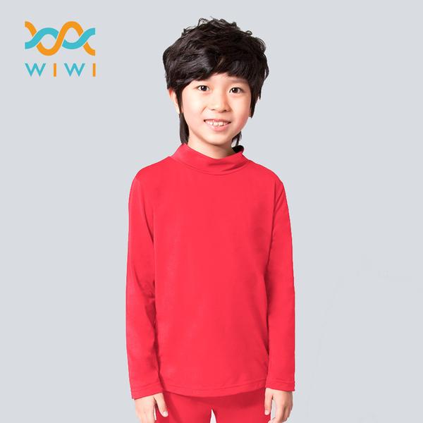 【WIWI】MIT溫灸刷毛立領發熱衣(朝陽紅  童70-150)