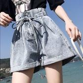 2020夏季高腰短褲女學生捲邊褲韓版寬管褲大碼胖mm寬鬆牛仔褲繫帶 藍嵐