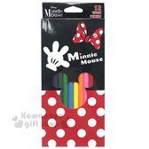 〔小禮堂〕迪士尼 米妮 盒裝12色色鉛筆《紅黑.點點》美術用品.銅板小物 4941829-00535
