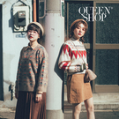 Queen Shop【01070967】民俗圖騰花樣厚實短版毛衣*現+預*