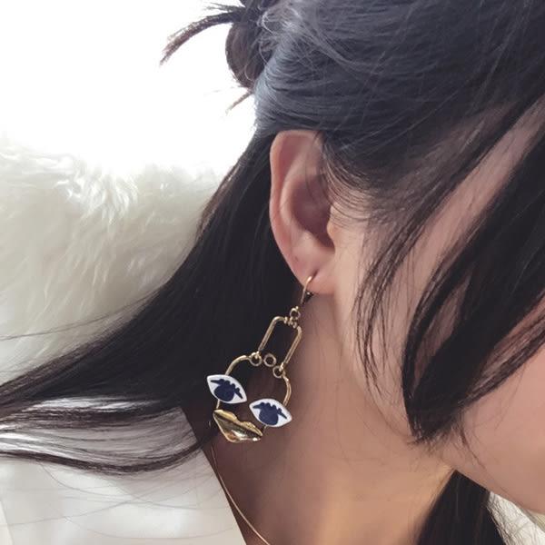 耳環 歐美時尚趣味大眼睛嘴唇誇張造型長款垂墜式耳環【1DDE0648】