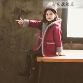 兒童外套 女童冬裝呢子外套新款網紅兒童女孩洋氣秋冬時髦加厚毛呢大衣-超凡旗艦店