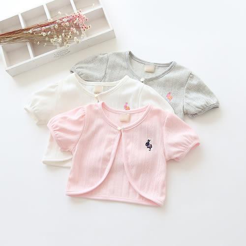 童薄外套 女童小兔子刺繡短袖薄外套 S69001