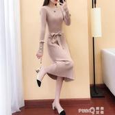 洋裝女秋冬2020新款釘珠寬鬆針織長款毛衣裙過膝打底裙加厚長裙  (pinkq 時尚女裝)