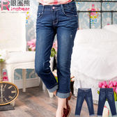 牛仔褲--蕾絲滾條繡線復古刷色魚紋九分/反折七八分小直筒牛仔褲(M-7L)-S74眼圈熊中大尺碼★