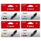 CANON㊣原廠墨水匣CLI-751BK淡黑/CLI-751C藍/CLI-751M紅/CLI-751Y黃 適用:CANON MG5470/MG6370/MX727/MX927/IP7270