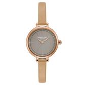 Kenneth Cole 時尚摩登氣質皮革腕錶-淺灰x玫瑰金-KC50065001