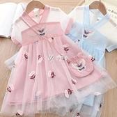 洋裝 女童夏季新款漢服雪紡洋裝連衣裙超仙兒童網紗刺繡花古裝唐裝背包 快速出貨
