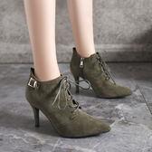 靴子 秋冬尖頭細跟短靴 高跟馬丁靴子系帶《小師妹》sm53