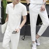 亞麻套裝男冬季青年男士上衣服大碼寬鬆中國風潮流棉麻短袖t恤 美芭