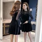 金絲絨連衣裙2020春秋新款女裝長袖顯瘦a字裙喇叭袖氣質《蓓娜衣都》
