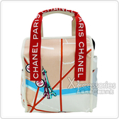 CHANEL Outlet 展示品 帆布塗鴉亮片刺繡手提包(紅)