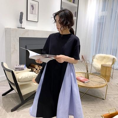 拼接洋裝1039#春夏連身裙女夏韓版中長款寬松顯瘦冷淡風不規則拼接裙NC417.胖丫