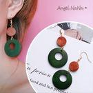 耳環《可改耳夾式》《可改S925銀針》復古原木簍空耳鈎 (SRA0080) AngelNaNa