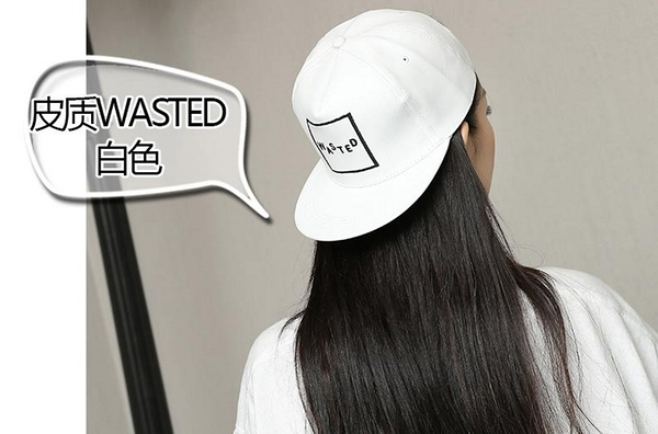 [協貿國際]韓版平沿帽嘻哈帽潮棒球帽皮質WASTED白色