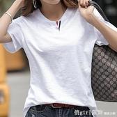 純棉T恤 竹節棉t恤女裝2021年夏裝新款T桖純棉寬鬆韓版大碼上衣短袖體恤衫 秋季新品