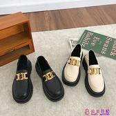 小皮鞋女韓版百搭春季新款厚底粗跟復古英倫風單鞋時尚樂福鞋【公主日記】