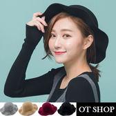 OT SHOP帽子‧韓星必備小臉波浪邊圓頂帽素面造型純羊毛呢帽‧黑色/灰色/紅色‧現貨‧C1749