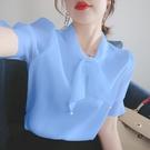 2021年新款純色雪紡襯衫女士蝴蝶結短袖上衣夏季大碼百搭洋氣小衫「時尚彩紅屋」