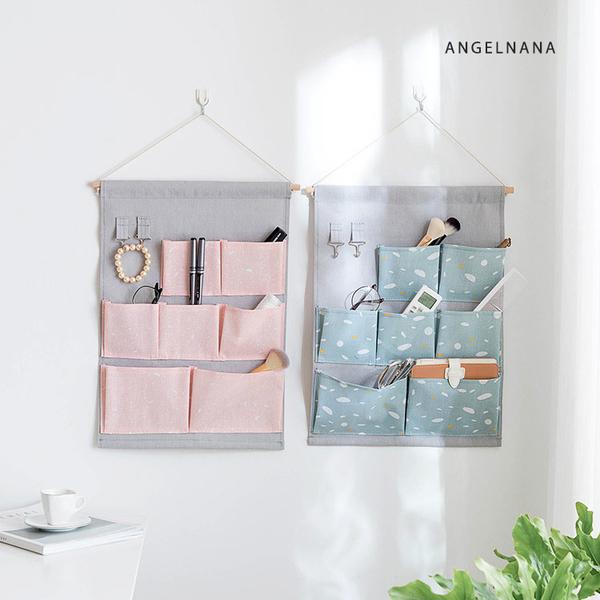 壁掛式收納袋-棉麻布彩色宿舍門後牆壁懸掛式多層儲物袋 AngelNaNa SKA0009