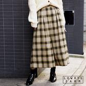 LOWRYS FARM復古格紋前車褶腰部鬆緊七分寬褲褲裙-二色