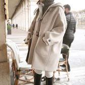 毛呢外套 連帽女韓國學院風中長款牛角扣呢子大衣