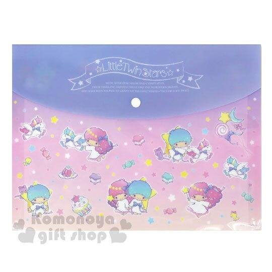 〔小禮堂〕雙子星 塑膠橫式扣式資料袋《A4.粉紫.飛馬》文件袋.收納袋.銅板小物 4904555-05465