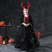 萬聖節服飾 萬聖節兒童服裝女童表演出披風女巫裙恐怖cos吸血鬼小女孩2021