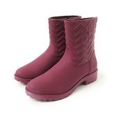 Petite Jolie  V字壓紋短筒靴-酒紅色