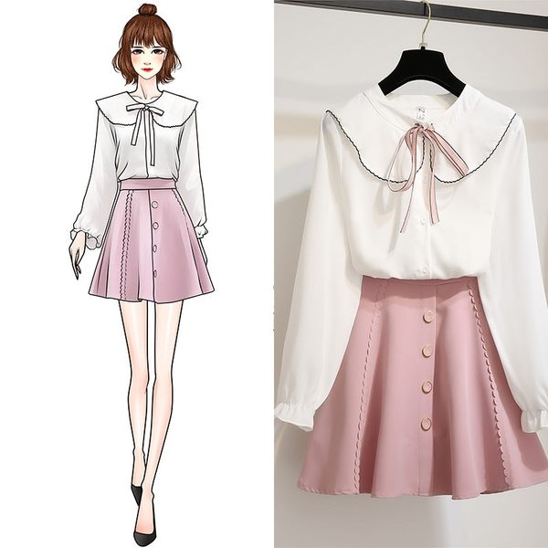 VK旗艦店 韓系甜美綁帶雪紡衫單排扣套裝長袖裙裝