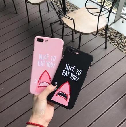 【SZ14】iphone 7 plus手機殼 創意鯊魚嘴 磨砂 硬殼iphone 6s plus手機殼