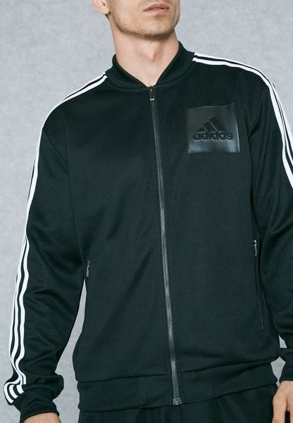 adidas 外套 ID BOMBER TTOP 男款 長袖 上衣 拉鍊 MA1 夾克 經典 基本款 三條線 黑白 黑 白 BS4499