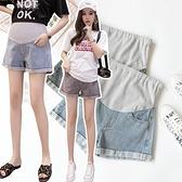 漂亮小媽咪 托腹短褲 【P5387】 孕婦托腹短褲 韓系 反摺 顯瘦 牛仔短褲 牛仔 托腹 短褲