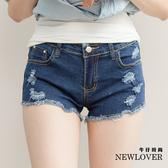 激瘦款抽鬚短褲NEW LOVER牛仔時尚【111-5759】修身激瘦款刷破抽鬚短褲-L-XL