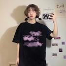長款上衣 寬鬆黑色短袖T恤女裝ins潮夏季年百搭字母中長款上衣女夏 晶彩 99免運