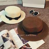 韓版草帽女夏天英倫復古平頂小清新禮帽遮陽防曬沙灘帽子出游潮夏【Pink Q】