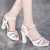 粗跟涼鞋2021夏季新款白色高跟女鞋時尚百搭一字扣帶中跟魚嘴鞋女
