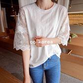 韓國代購 蕾絲拼接五分袖 上衣 CC KOREA ~ Q15688 韓妮 心田 正韓