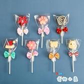 100組 棒棒糖包裝袋塑料可愛蝴蝶結扎絲手工三件套【奇趣小屋】