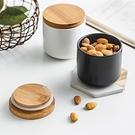 [小款]北歐風陶瓷密封罐 木質密封蓋 調料收納 陶瓷密封罐 廚房收納 食品收納 儲物罐【RS997】