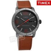 TIMEX 天美時 / TXTW2R64000 / 美國第一品牌 阿拉伯數字 日期星期視窗 真皮手錶 黑x咖啡 44mm