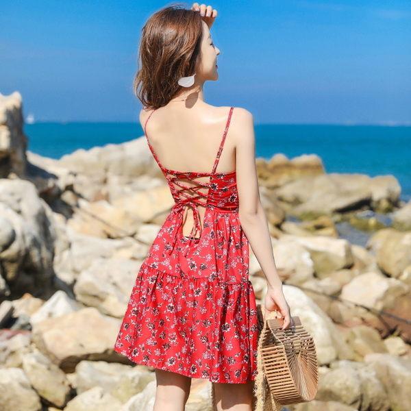 梨卡★現貨 - 沙灘海邊性感火辣綁帶露背中長版洋裝連身裙連身短裙沙灘裙BR217