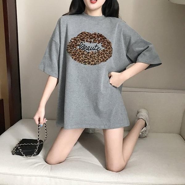 FINDSENSE G6 韓國潮流 2019 短袖T恤女報文嘴唇中長款打底衫寬鬆