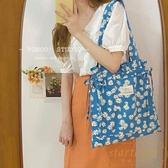 藍色小雛菊單肩帆布包包購物袋學生書包女【繁星小鎮】