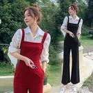 女裝紅色吊帶連身褲秋裝2020新款高腰寬管褲連衣褲套裝黑色吊帶褲 小艾新品