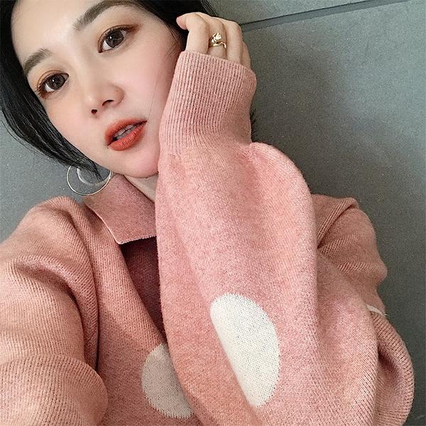 清倉388 韓國風毛衣寬松套頭波點針織衫長袖上衣