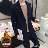 加棉加厚風衣男秋冬季毛呢子大衣韓版潮流帥氣外套男士修身中長款  美斯特精品