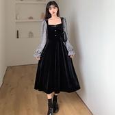 大碼女裝秋冬新款法式氣質胖mm收腰顯瘦黑色絲絨方領中長款連身裙 suger